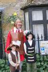A father and 2 sons dressed in English Civil War costumes at Stow's Cotswold Festival 2009