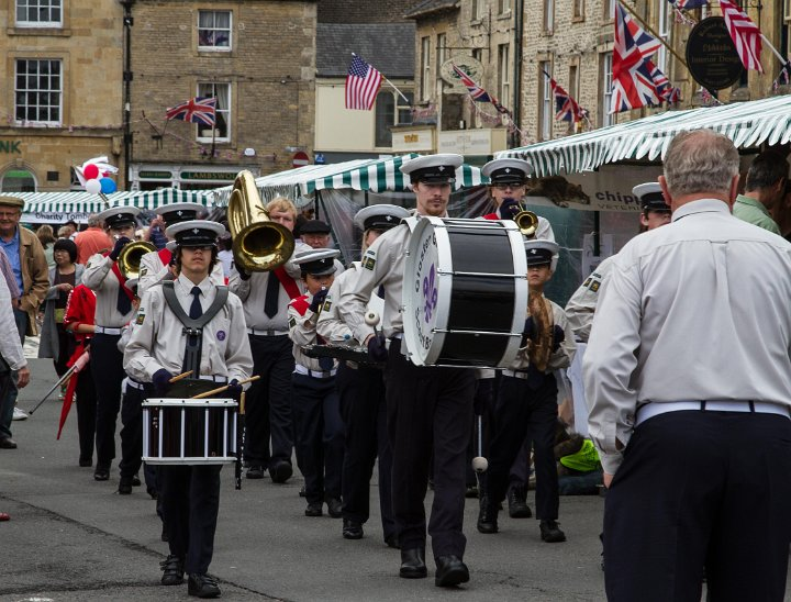 Gloster Gladiators marching band arriving at the 2015 Stow Cotswold Festival