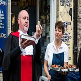 Alcester Court Leet Meat Taster checking out Jan's pies at Lambournes