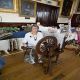 Northleach Spinners hard at work spinning the fleece from Conygree farm