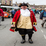 Ken Brightwell, the Town Crier, announced all the acts in the arena